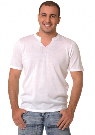 White shortsleeve wooven top Z-10