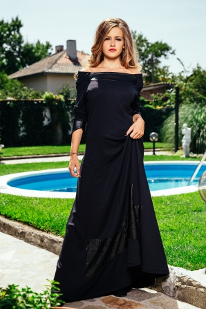 Long black dress with leather element Avangard