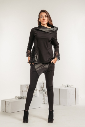 Black set of shirt and trousers with leather elements Avangard