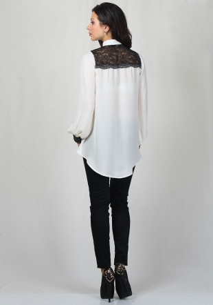 Ecru shirt with lace and trousers with lace RUMENA