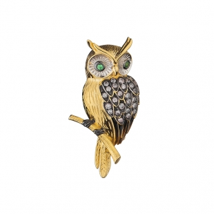 Silver and gold owl brooch with zircons Swan
