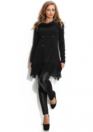 Women's black tunic-dress with lace trimming Avangard
