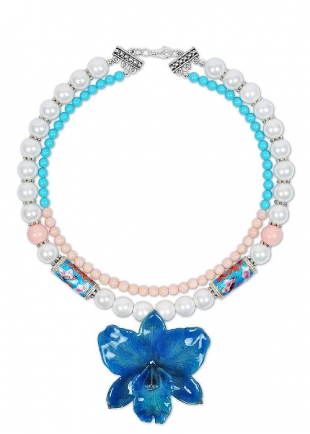 Blue Oriental Queen Necklace With Real Orchid Dannyra Jewels