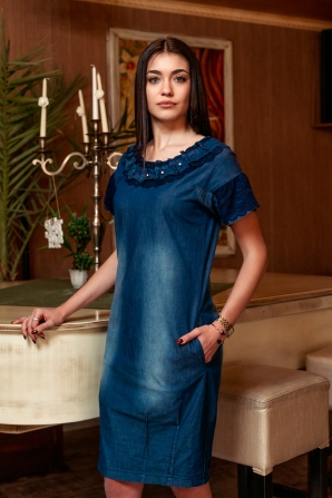 Blue denim dress with lace sleeves Avangard