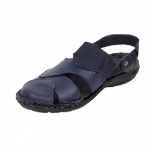 Men's blue leather sandals with movable strap 19229