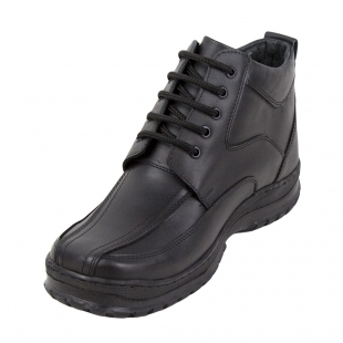 Men's black leather boots with warm lining 32815