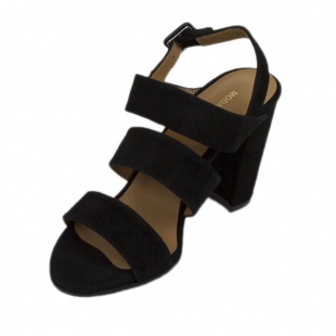 Women's black suede leather sandals 19179