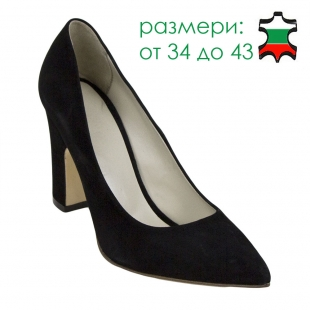 Women's black suede leather shoes with wide heels 32844