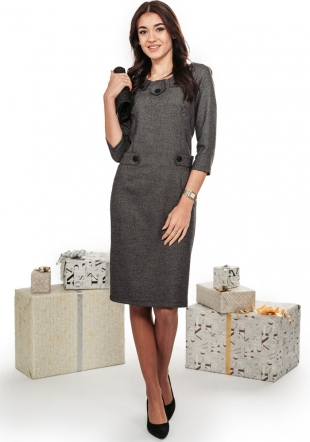 Elegant formal dress in gray with decoration buttons Avangard