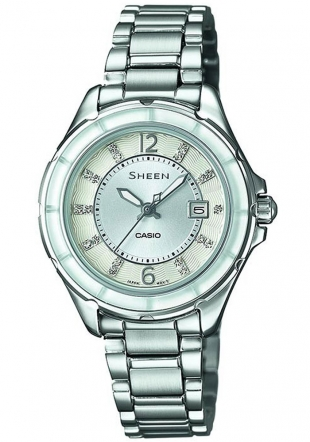 Дамски часовник Casio SHE-4045D-7AUER - с кристали SWAROVSKI