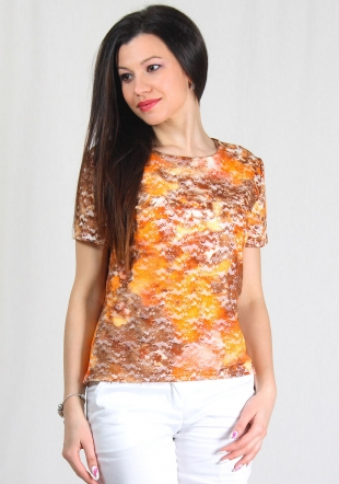 Ladies short sleeves yellow-brown flowers print lace top RUMENA