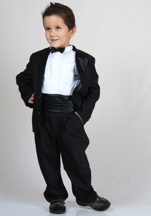 Boys elegant black suit with satin collar and shirt RUMENA