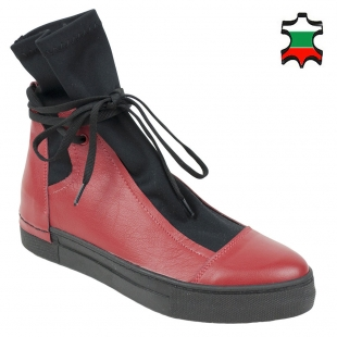Women's red leather boots with black neoprene 20593