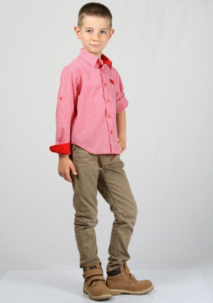 Red check boys shirt with foldable sleeves RUMENA