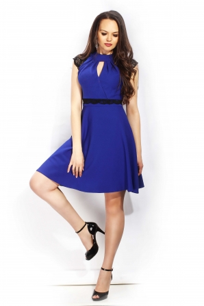 Lady's dress blue with lace with open neckline