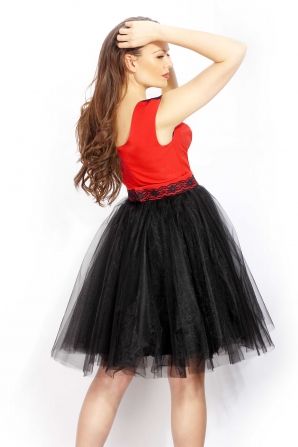 Womens dress in red and black