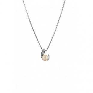 Silver necklace with natural white pearl and zirons CAA020N Swan