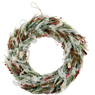 Door Christmas wreath with organza band Dims
