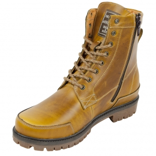 Men's camel colour leather boots with waterproof lining