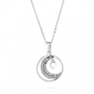 Silver heart and moon pendant necklace with zircons END136N Swan
