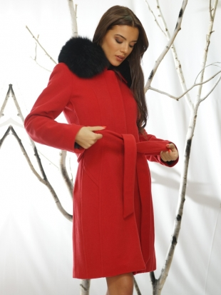 Women's red coat with natural collar 119914L-1-P1