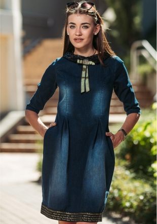 Denim dress with collar and ribbon Avangard