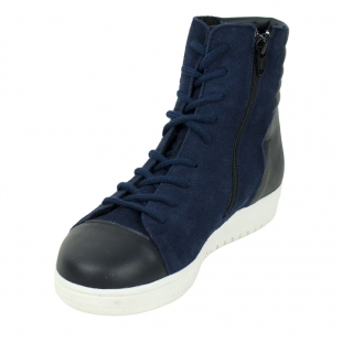 Women's blue leather boots 32439