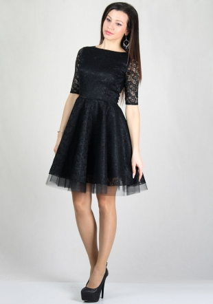 Evening black lace dress with wide skirt with belt RUMENA