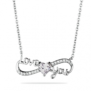 Silver necklace with zircons MR2572N Swan