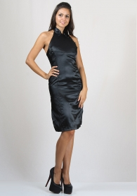 Party Dress Made of Black Satin with Chinese Collar  RUMENA