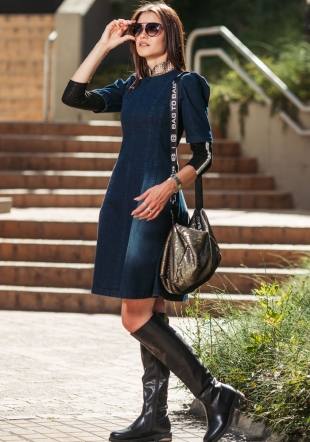 Denim dress with gold collar and edging on the sleeve Avangard
