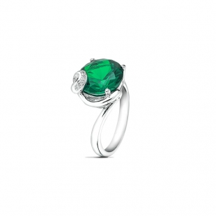 Silver ring with emerald and zircon SAP164R Swan