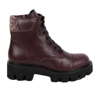 Women's lburgundy leather boots with snake print collar 20420