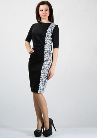Women's dress with side floral jacquard element RUMENA