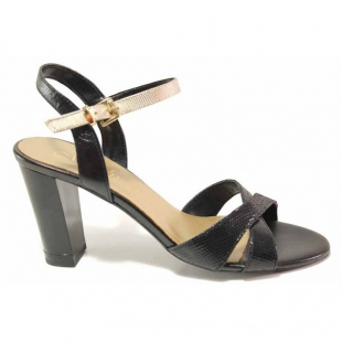 Elegant anatomical women's sandals made of genuine leather in black and gold 21276