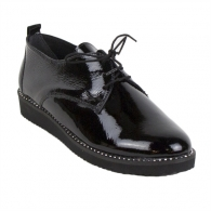Women black shoes from black natural lacquer 970-Lak