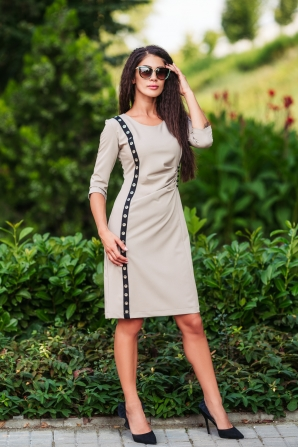 Casual dress in beige with edge Avangard