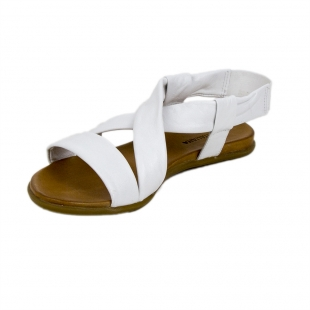 Women's white leather sandals with elastic 19241