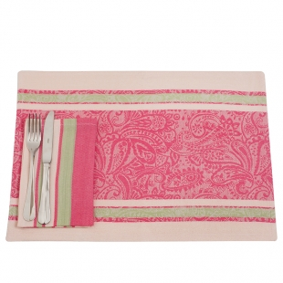 Three Colours Cotton Mats And Napkins Set With Floral Motifs Lancaster