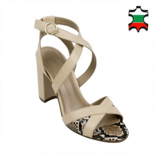 Women's sandals in beige with elements in leather in print 21334