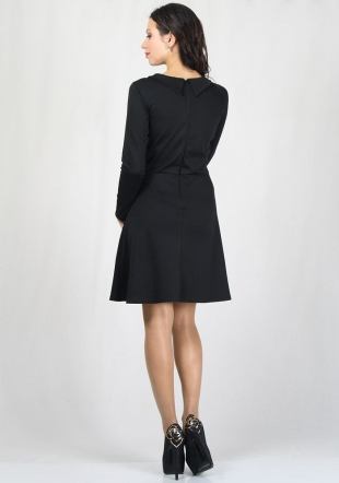 Black dress with or without collar with lace neck RUMENA