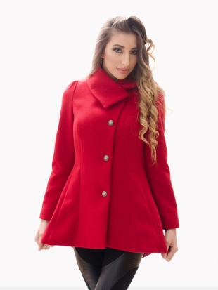 Elegant coat in red with asymmetrical collar 11802-2