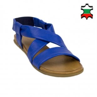 Women's blue leather sandals with elastic 19240