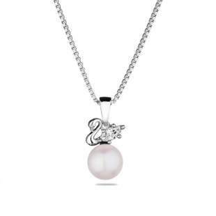 Silver necklace with natural white pearl and zircon CAA088NW Swan