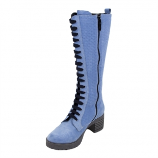 Women's blue suede leather boots 32805