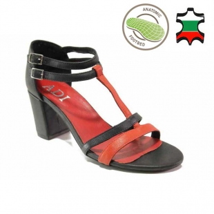 Elegant anatomical women's leather sandals with red and black straps 21277