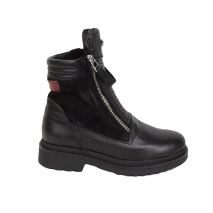 Black high boots with zipper leather 34247