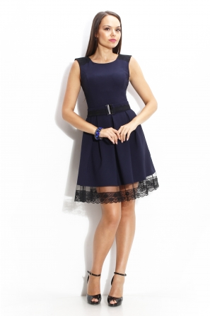 Official dress in blue with lace curb