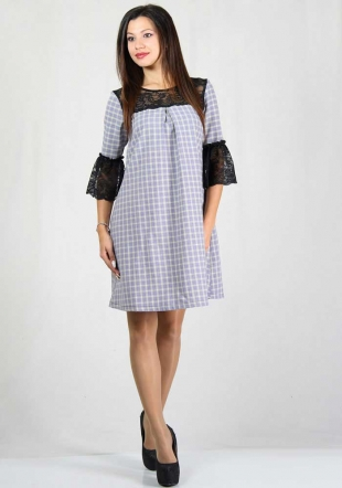 Tartan print wide cut dress with lace sleeves and neck RUMENA