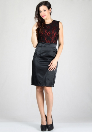 Women's evening dress with lace top with red satin RUMENA